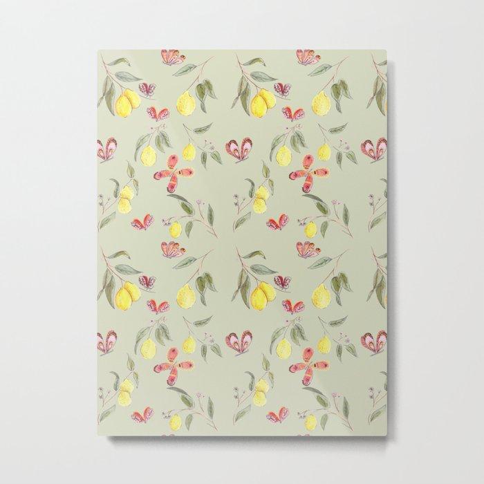 Lemons and Butterflies pattern Metal Print
