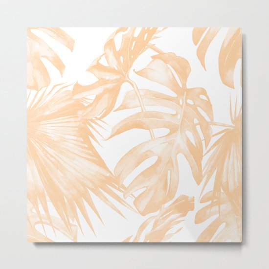 Island Vacation Hibiscus Palm Coral Metal Print