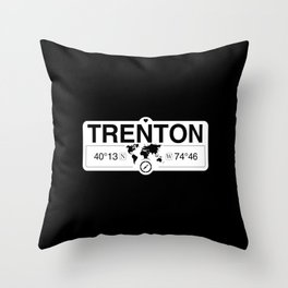 Trenton New Jersey Map GPS Coordinates Artwork with Compass Throw Pillow