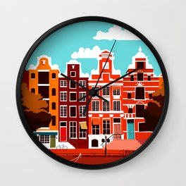 Vintage Amsterdam Holland Travel Wall Clock