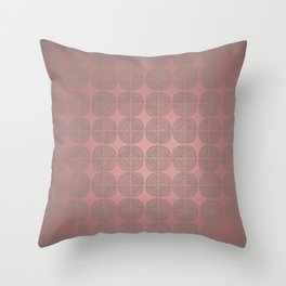 Tin circles on shiny marsala pattern Throw Pillow