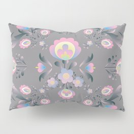 Folk Flowers in Pink and Grey Pillow Sham