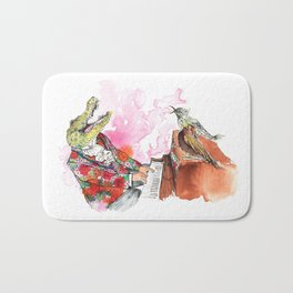 Piano Playing Alligator in a Floral Blazer, with Backup Singing Birds Bath Mat
