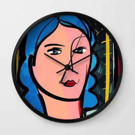 Fauve Girl Portrait with blue hair Wall Clock