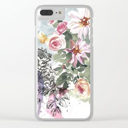 MOON CANYON FLORAL PAINTING Clear iPhone Case