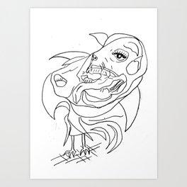 Horse man and bird Art Print