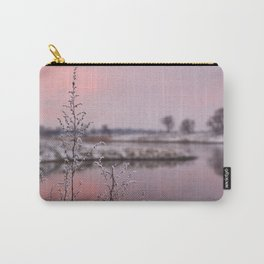 Winter Sunset At River Bank Carry-All Pouch
