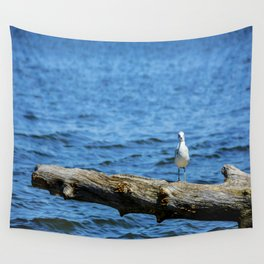 Seagull on Driftwood Wall Tapestry