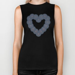 Heart and flowers. Denim photocollage Biker Tank