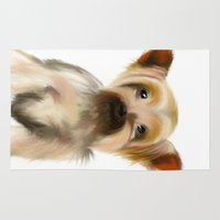 yorkie Area & Throw Rugs featuring Yorkie Puppy on White  by barefoot art online