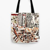 outdoor Tote Bags featuring Outdoor Lunch by Losal Jsk