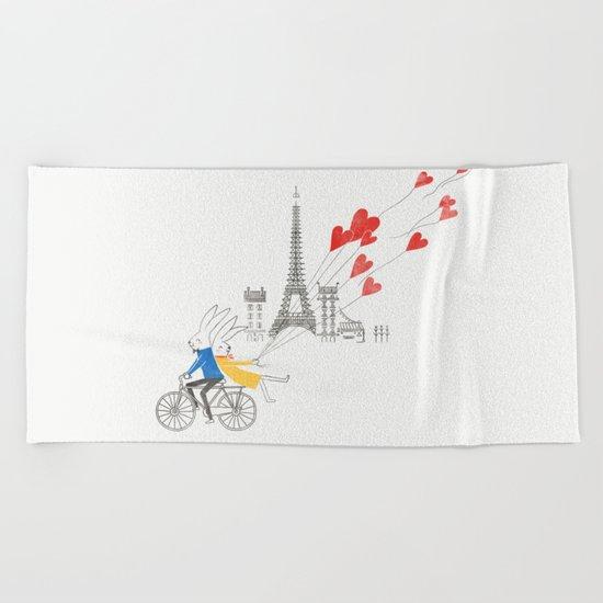 Paris in Love Beach Towel