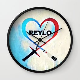 Reylo - Heartsaber - Blue/Red Wall Clock