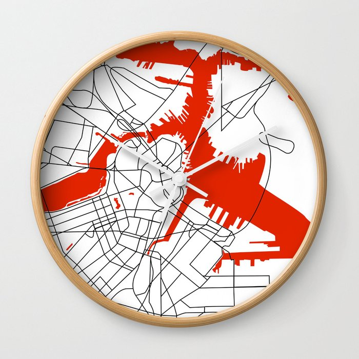 Downtown Boston Map Wall Clock by studiotesouro