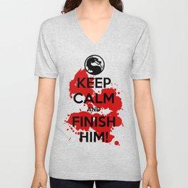Keep Calm and FINISH HIM! Unisex V-Neck