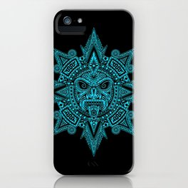 Ancient Blue and Black Aztec Sun Mask iPhone Case
