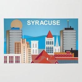 Syracuse, New York - Skyline Illustration by Loose Petals Rug