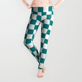 White and Teal Green Checkerboard Leggings