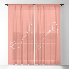 Scorpio Zodiac Constellation - Coral Red Sheer Curtain