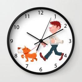 A man walking with his dog Wall Clock