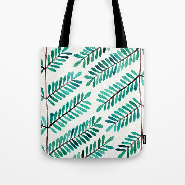 Turquoise Leaflets Tote Bag