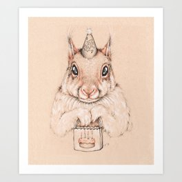Lil' Birthday Squirrel Art Print