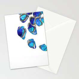Blue And White Abstract Art - Falling 1 - Sharon Cummings Stationery Cards