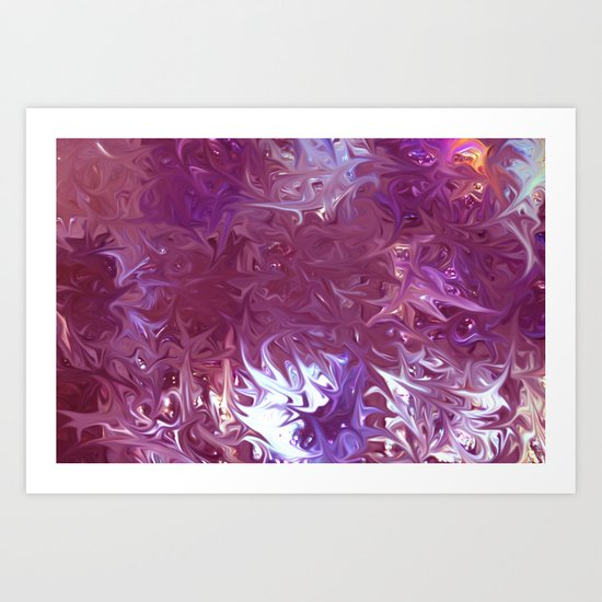 Star Burst Pink  - JUSTART ©, Digital art Art Print
