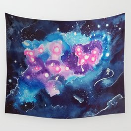 Tiny Astronaut and the Blue Nebula Wall Tapestry