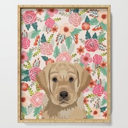 Labrador puppy floral pet portrait wall art and gifts for dog breed lovers Serving Tray