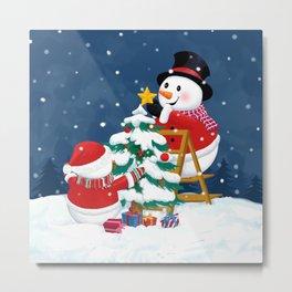 Christmas Snowman Family Series II Metal Print