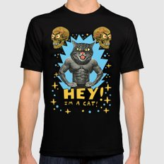 Hey! I'm a cat! Black Mens Fitted Tee MEDIUM