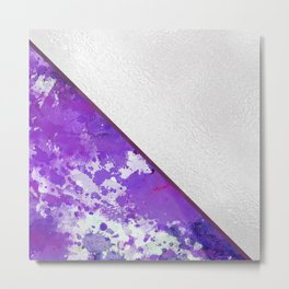 Abstract violet lilac white watercolor paint splatters Metal Print
