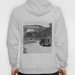 Old Hollywood sign Hollywoodland black and white photograph Hoody