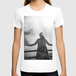 Ghost of Owakudani Mountain in Japan - Black & White Photography T-shirt