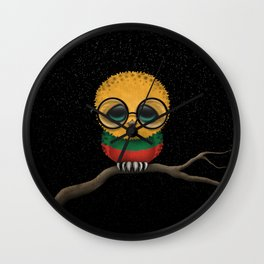 Baby Owl with Glasses and Lithuanian Flag Wall Clock