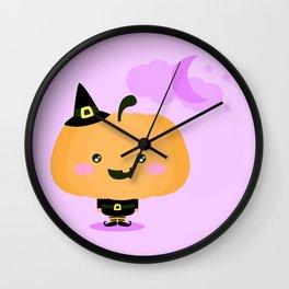 Halloween pumpkin in witch costume Wall Clock