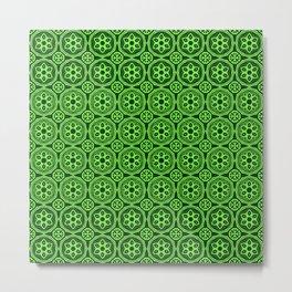 African Tribal Style Hexagon Motif Pattern Dark and Light Green Metal Print