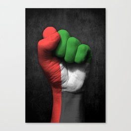 UAE Flag on a Raised Clenched Fist Canvas Print