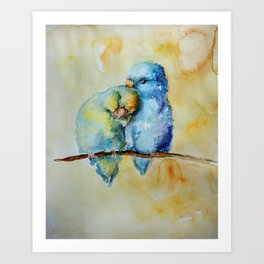 Cute Birds in Love Art Print