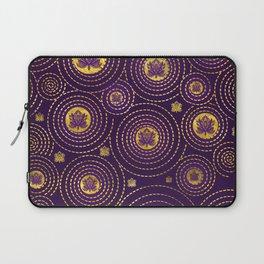 Gold and deep purple Lotus FLower Laptop Sleeve