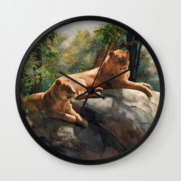 Two Lions In Love Wall Clock