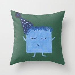 MyHappySquare blue happy birthday Throw Pillow