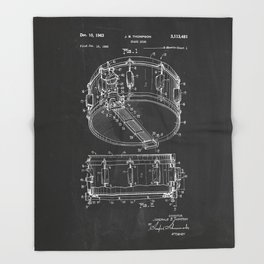 Snare Drum Patent Throw Blanket