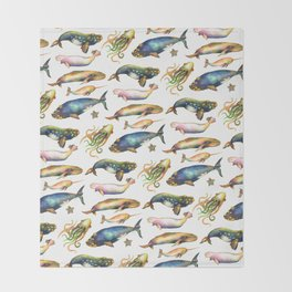 Whales and a Little Squid Throw Blanket