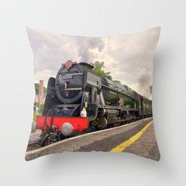 Royal Scot and Britannia at Exeter St Davids  Throw Pillow