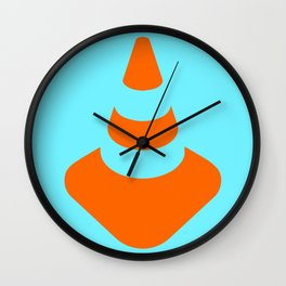traffic  road cone safety pylon Whitc hat marker Wall Clock