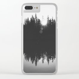 Wooded Lake Reflection Black and White Clear iPhone Case