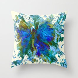 Butterflies are free in teal, blue, green and cream Throw Pillow