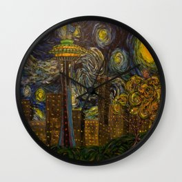 Dedication to Van Gogh: Seattle Starry Night Wall Clock